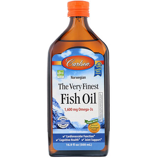 Carlson Labs, Norwegian, The Very Finest Fish Oil, Natural Orange Flavor, 1,600 mg, 16.9 fl oz (500 ml)
