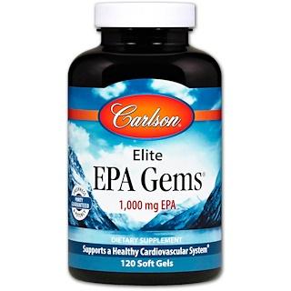 Carlson Labs, Elite EPA Gems, 1000 мг, 120 мягких капсул