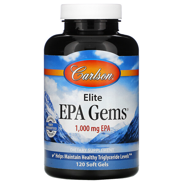 Carlson Labs, Elite EPA Gems, 1000 мг, 120 капсул