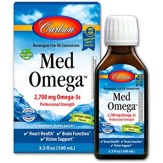 Carlson Labs, Med Omega, Lemon-Lime Flavor, 2,700 mg, 3.3 fl oz (100 ml)