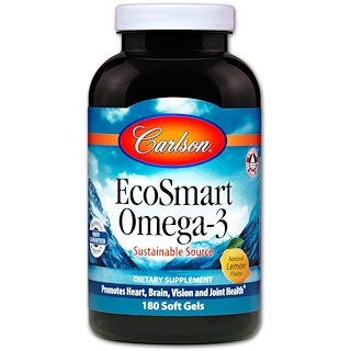 Carlson Labs, EcoSmart Omega-3, Natural Lemon Flavor, 180 Soft Gels