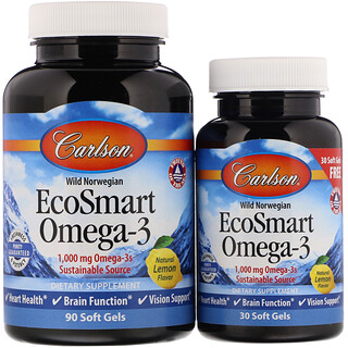 Carlson Labs, EcoSmart Omega-3, Natural Lemon Flavor, 1,000 mg, 90 + 30 Soft Gels