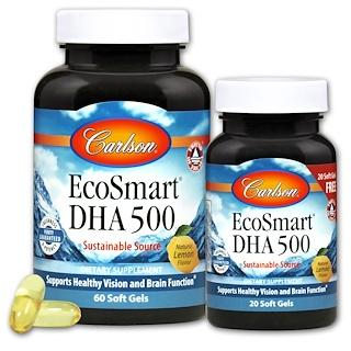 Carlson Labs, Экосмарт ДГА, натуральный вкус лимона, 60 желатиновых капсул + 20 бесплатно