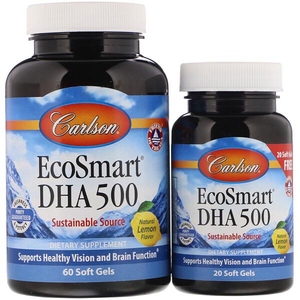 Carlson Labs, EcoSmart DHA,天然檸檬味,60粒軟膠囊+附贈20粒軟膠囊