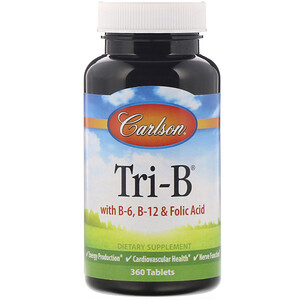 Карлсон Лэбс, Tri-B with B6, B12 & Folic Acid, 360 Tablets отзывы покупателей