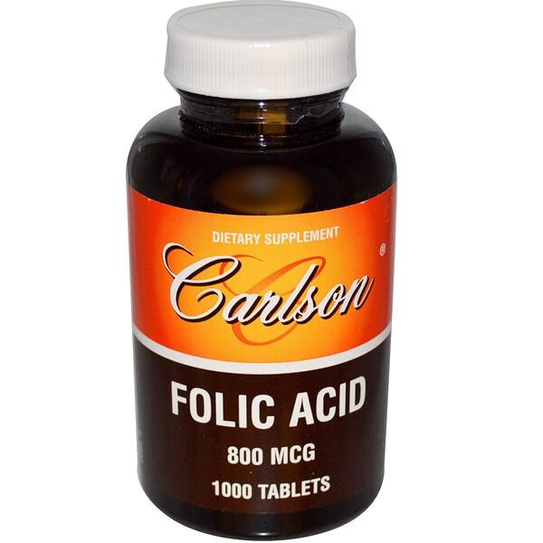 Carlson Labs, Folic Acid, 800 mcg, 1000 Tablets (Discontinued Item)