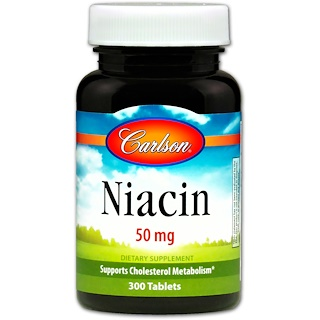 Carlson Labs, Niacin, 50 mg, 300 Tabletas