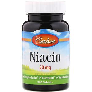 Карлсон Лэбс, Niacin, 50 mg, 300 Tablets отзывы