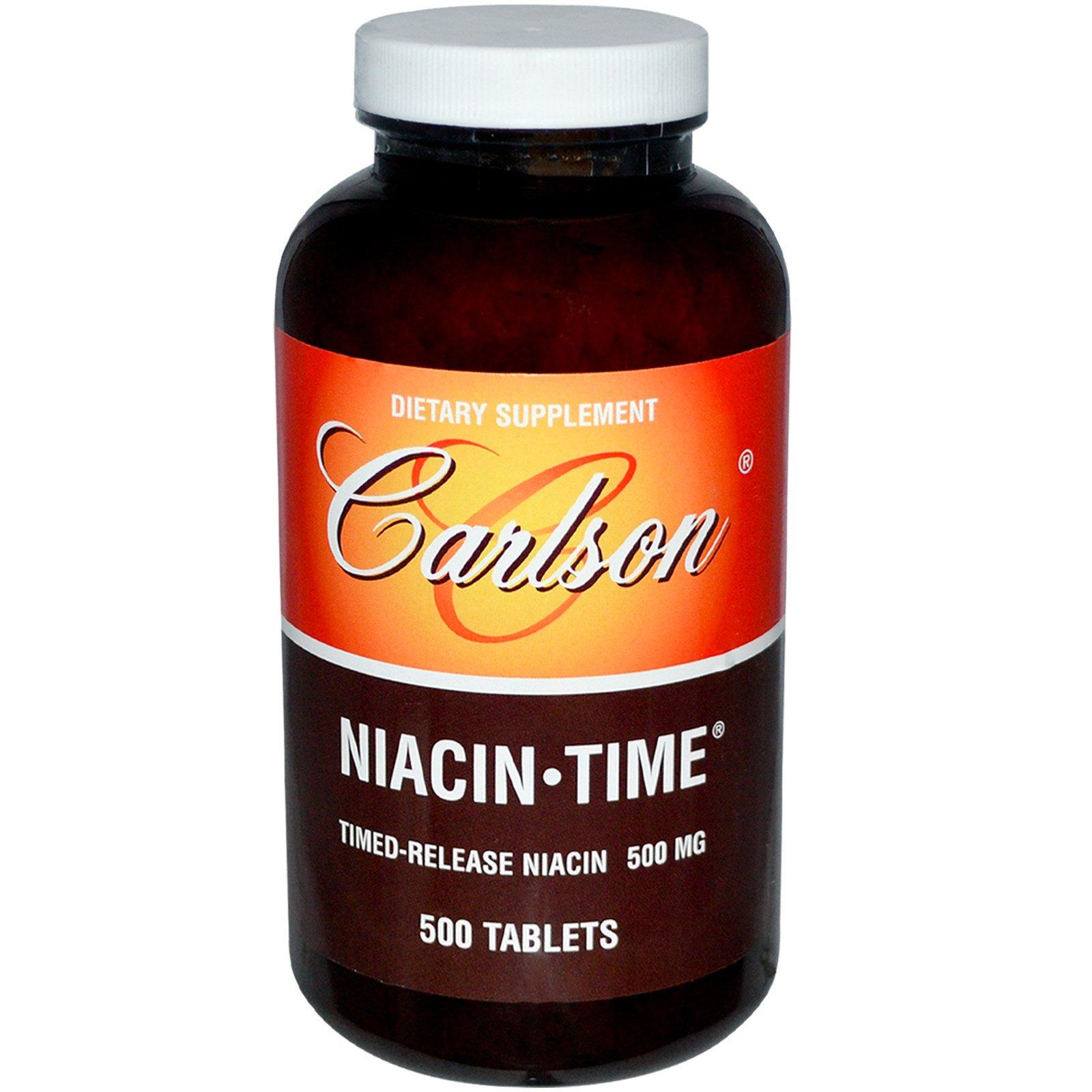 Carlson Labs, Ниацин с задержкой, 500 мг, 500 таблеток