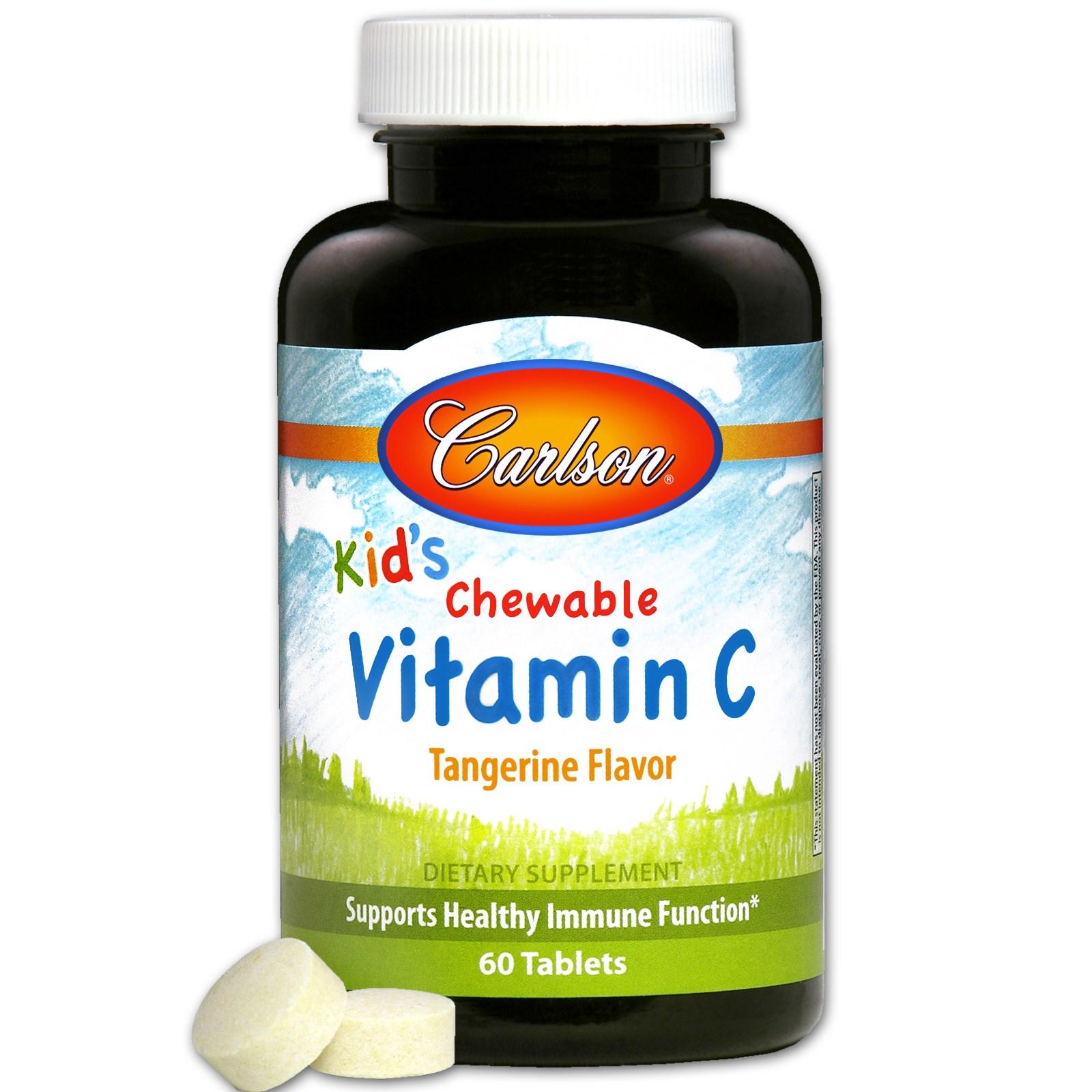 Carlson Labs, Детский жевательный витамин С, мандариновый вкус, 60 таблеток