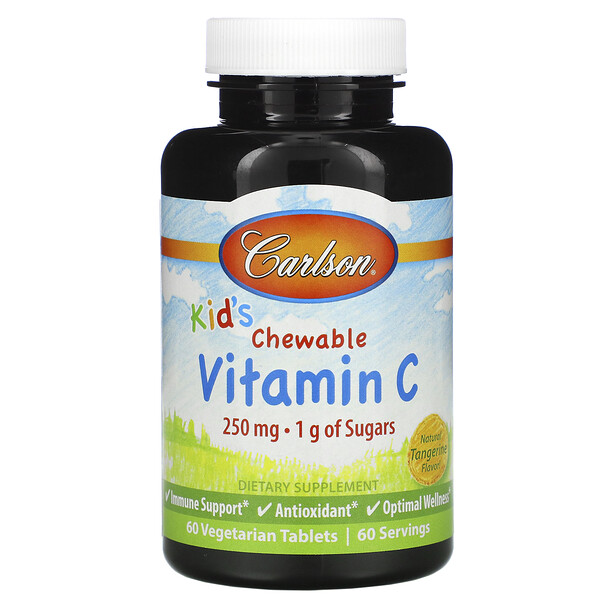 Kid's, Chewable Vitamin C, Natural Tangerine Flavor, 250 mg, 60 Vegetarian Tablets