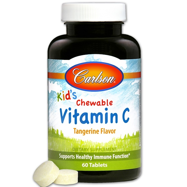 Carlson Labs, Kids, Chewable Vitamin C, Tangerine Flavor, 60 Tablets