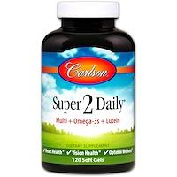 Super 2 Daily, Витамины и минералы, Не содержит железа, 120 гелевых капсул - фото