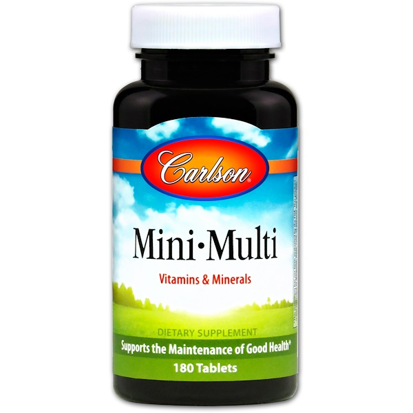 Carlson Labs, Mini-Multi, Vitamins & Minerals, Iron-Free, 180 Tablets