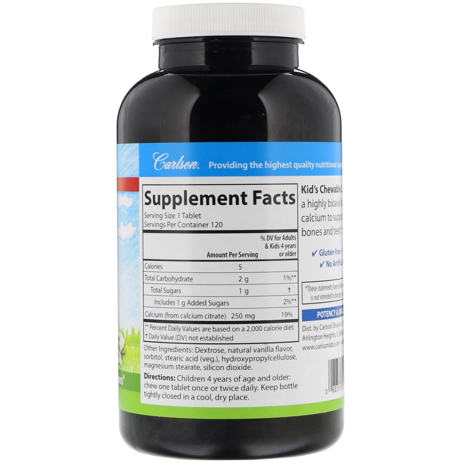 Carlson Labs, Kid's Chewable Calcium, Natural Vanilla Flavor, 250 mg