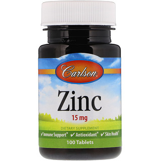 Carlson Labs, Zinc, 15 mg, 100 Tablets