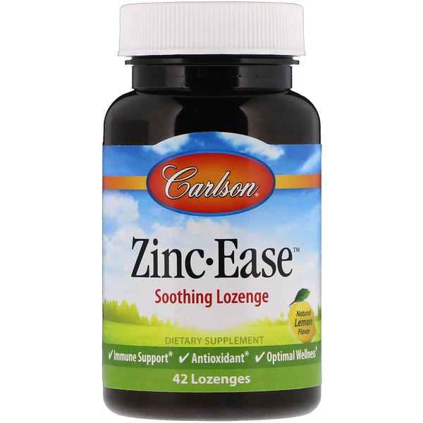 Carlson Labs, Zinc Ease Soothing Lozenge, Natural Lemon Flavor, 42 Lozenges