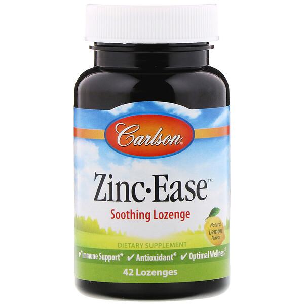 Carlson Labs, Zinc Ease Пастилки с успокаивающим действием, Натуральный лимонный вкус, 42 пастилки (Discontinued Item)