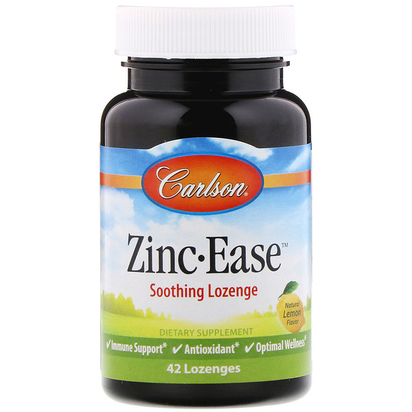 Carlson Labs, Zinc Ease Soothing Lozenge, Natural Lemon Flavor, 42 Lozenges (Discontinued Item)
