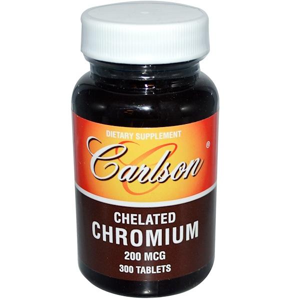 Carlson Labs, Chelated Chromium, 200 mcg, 300 Tablets