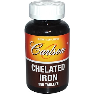 Carlson Labs, Chelated Iron, 250 Tablets