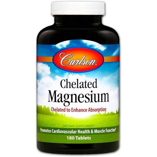 Carlson Labs, Chelated Magnesium, 180 Tablets