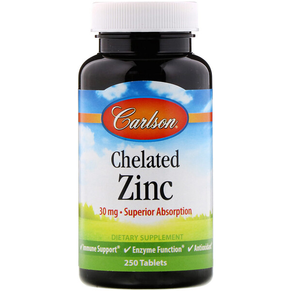 Carlson Labs, Chelated Zinc, 250 Tablets