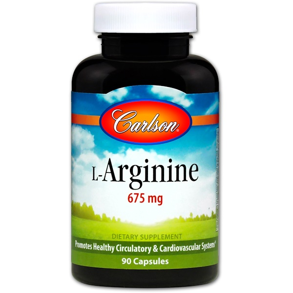 Carlson Labs, L-arginina, 675 mg, 90 cápsulas