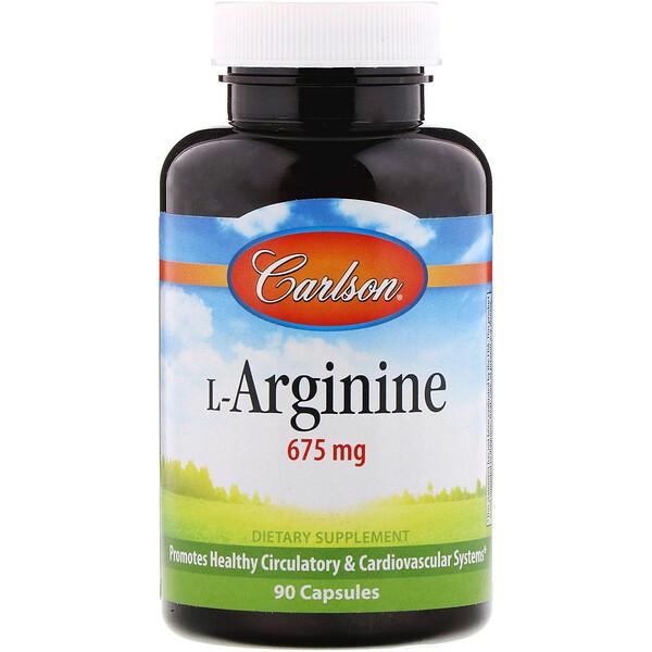 Carlson Labs, المكمل الغذائي  L-أرجينين، 675 مجم، 90 كبسولة (Discontinued Item)