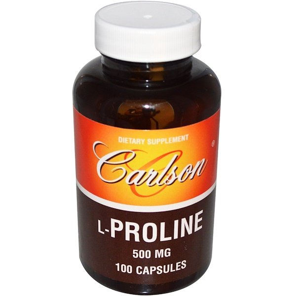 Carlson Labs, L-Proline, 500 mg, 100 Capsules (Discontinued Item)