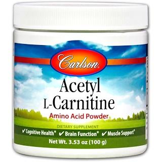 Carlson Labs, Ацетилкарнитин, аминокислотный порошок, 3,53 унц. (100 г)