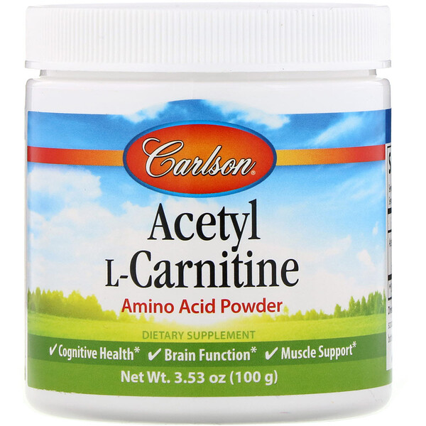 Carlson Labs, Acetyl L-Carnitine, Amino Acid Powder, 3.53 oz (100 g)