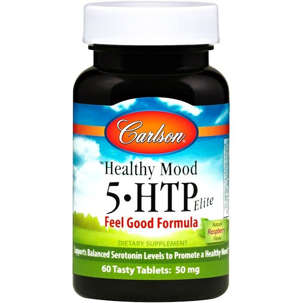 Carlson Labs, Healthy Mood, 5-HTP Elite, Natural Raspberry Flavor, 50 mg, 60 Tasty Tablets