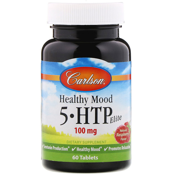 Carlson Labs, Healthy Mood, 5-HTP Elite, Natural Raspberry Flavor, 100 mg, 60 Tablets