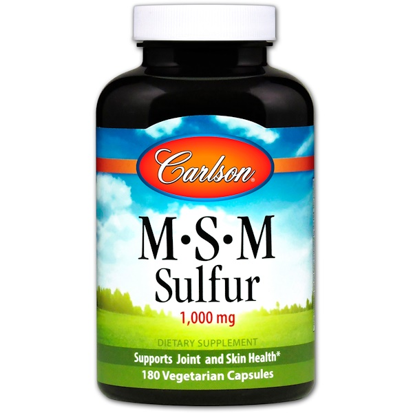 Carlson Labs, MSM硫黄、1,000mg、植物性カプセル180個