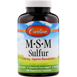 Карлсон Лэбс, MSM Sulfur, 1,000 mg, 180 Vegetarian Capsules отзывы покупателей