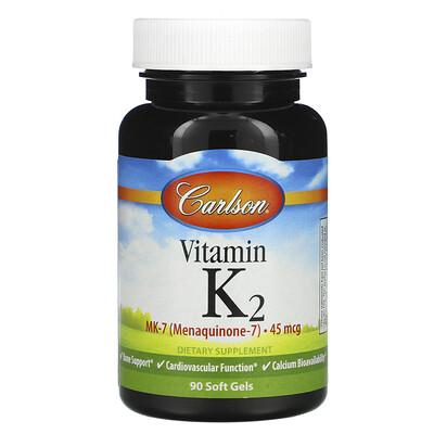 Купить Carlson Labs ВитаминK2 MK-7, 45мкг, 90мягких таблеток