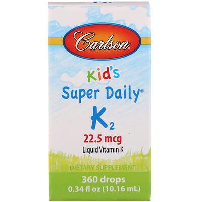 Купить Carlson Labs Kid's, Super Daily K2, 22, 5 мкг, 10, 16 мл (0, 34 жидкой унции)