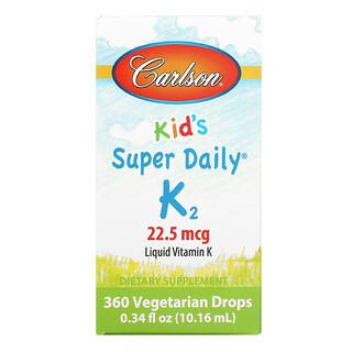 Carlson Labs, Kid's, Super Daily K2, 22.5 mcg, 0.34 fl oz (10.16 ml)