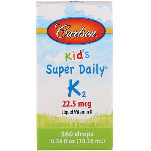 Карлсон Лэбс, Kid's, Super Daily K2, 22.5 mcg, 0.34 fl oz (10.16 ml) отзывы покупателей