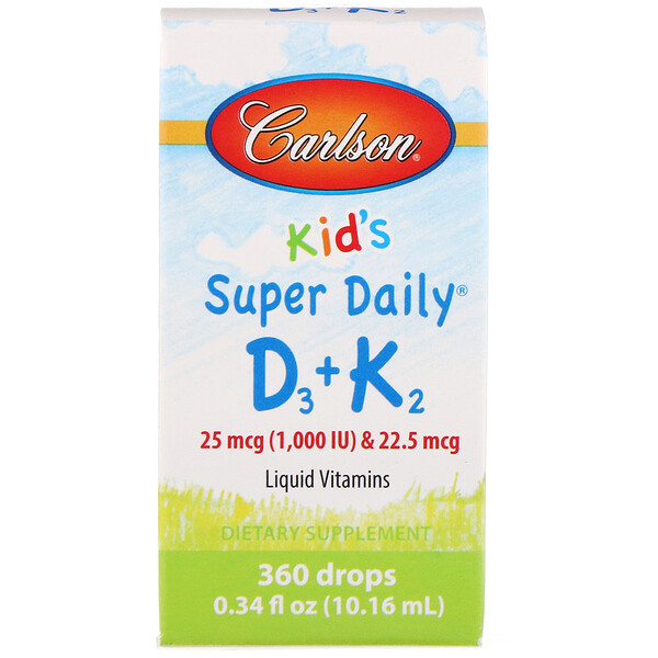 Carlson Labs, Kids, Super Daily D3+K2, 25 mcg (1,000 IU) & 22.5 mcg, 0.34 fl oz (10.16 ml)