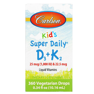 Карлсон Лэбс, Kid's, Super Daily D3+K2, 25 mcg (1,000 IU) & 22.5 mcg, 0.34 fl oz (10.16 ml) отзывы покупателей