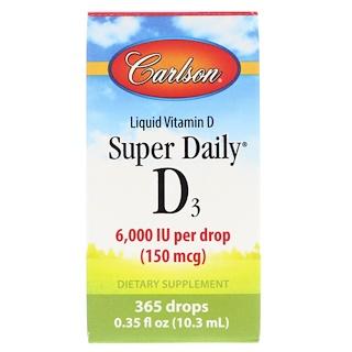 Carlson Labs, Super Daily D3, 6,000 IU, 0.35 fl oz (10.3 ml)