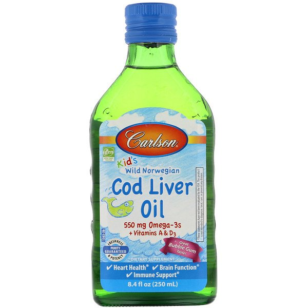 Carlson Labs, Kid's Wild Norwegian, Cod Liver Oil, Bubble Gum Flavor, 8.4 fl oz (250 ml)