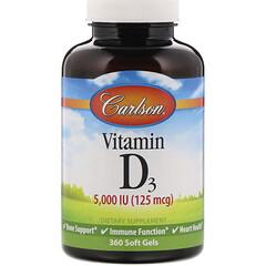Carlson Labs, 維生素 D3 軟膠囊,125 微克(5,000 國際單位),360 粒裝