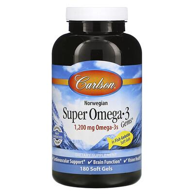 Купить Carlson Labs Norwegian, Super Omega-3 Gems, высокоэффективные омега-3 кислоты, 1200мг, 180капсул