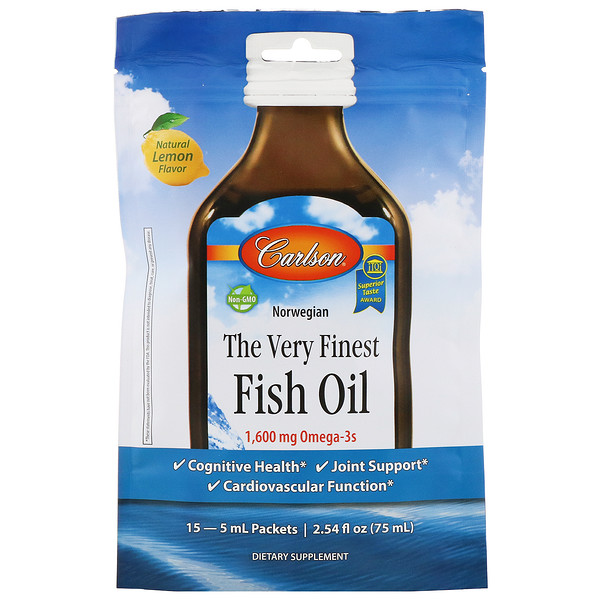 Carlson Labs, The Very Finest Fish Oil, Natural Lemon, 1,600 mg, 15 Packets, 5 ml Each (Discontinued Item)