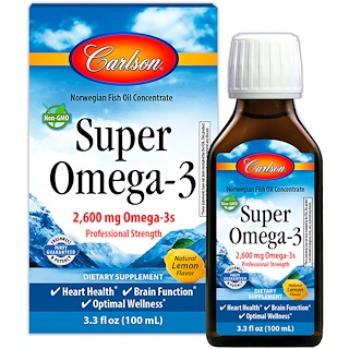 Carlson Labs, Super Omega-3, Natural Lemon Flavor, 2600 mg, 3.3 fl oz (100 ml)