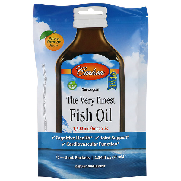 Carlson Labs, The Very Finest Fish Oil, Natural Orange, 1,600 mg, 15 Packets, 5 ml Each