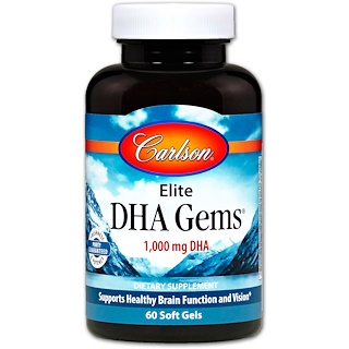 Carlson Labs, Elite DHA Gems, 1,000 mg, 60 Softgels
